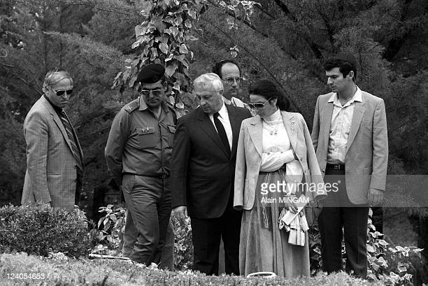 Ceremony of the independence day of Israel in Jerusalem Israel on April 27 1982 Ariel Sharon and wife Lily Memorial Day ceremonies at military...