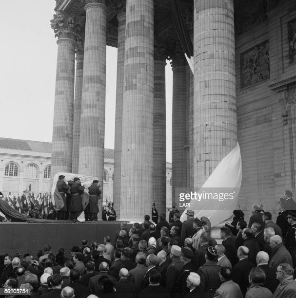 Ceremony of the transfer of Jean Moulin's ashes at the Pantheon Paris December 1964