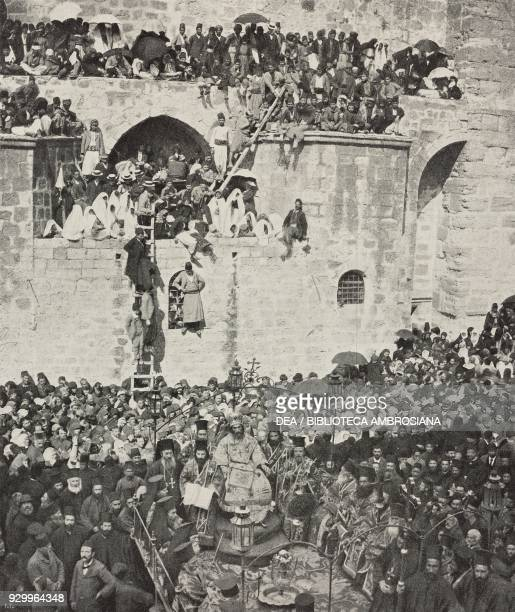 Ceremony of the washing of the feet at the Holy Sepulcher on Holy Thursday in Jerusalem, Israel, photograph by Dumas and Sons, from L'Illustrazione...