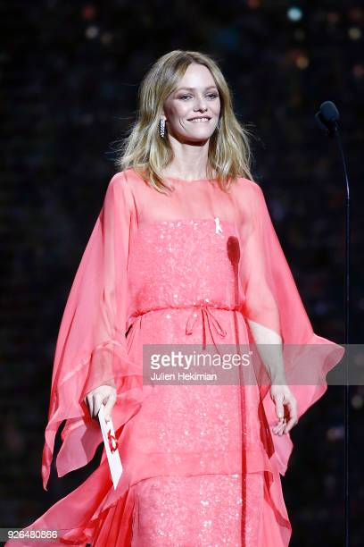 Ceremony President Vanessa Paradis arrives on stage during the Cesar Film Awards 2018 at Salle Pleyel on March 2 2018 in Paris France