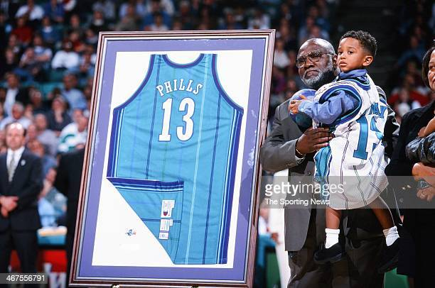 A ceremony retiring the jersey of Bobby Phills of the Charlotte Hornets during the game against the Cleveland Cavaliers on February 9 2000 at...