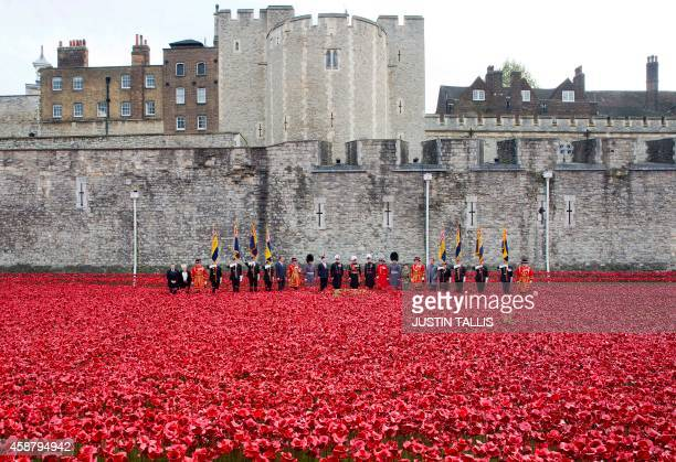 """Ceremony to mark the addition of the final poppy to the """"Blood Swept Lands and Seas of Red"""" installation by ceramic artist Paul Cummins and theatre..."""