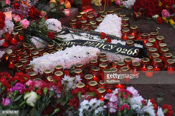 A ceremony to place a memorial stone commemorating the Russian Airbus A321 crash victims in the town of Vsevolozhsk on October 30 2016 Kogalymavia...