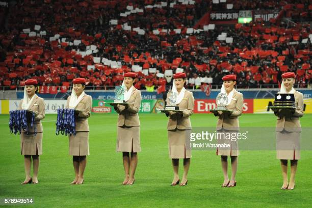Ceremoy attendants are seen prior to the award ceremony after the AFC Champions League Final second leg match between Urawa Red Diamonds and AlHilal...