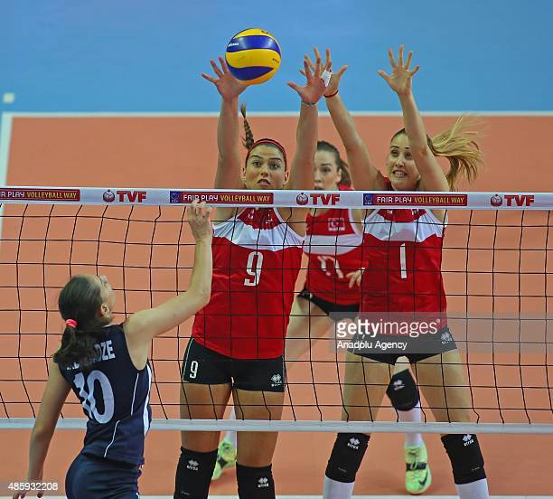 Ceren Kestirengoz and Melike Yilmaz of Turkey in action against Ann Alandadze of Georgia during 2015 CEV Women Volleyball European League Group A...