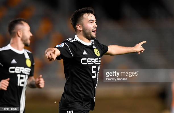Ceres Negros player Bienvenido celebrates scoring a goal during the AFC Asian Champions League Preliminary Stage match between Brisbane Roar and...