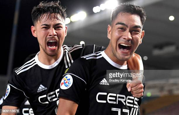 Ceres Negros player Omid David Nazari celebrates with team mate Kevin Ingreso after scoring a goal during the AFC Asian Champions League Preliminary...