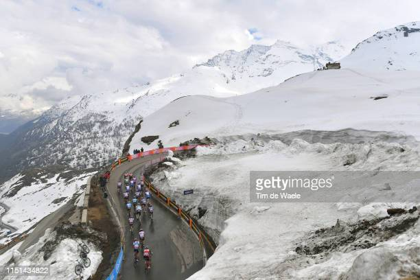 Ceresole Reale / Peloton / Landscape / Mountains / Snow / Fans / Public / during the 102nd Giro d'Italia 2019 Stage 13 a 196km stage from Pinerolo to...