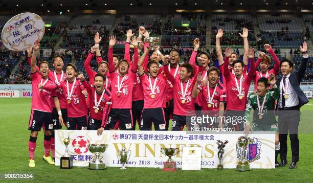 Cerezo Osaka players celebrate the wining of the Emperor's Cup during the 97th All Japan Football Championship final between Cerezo Osaka and...