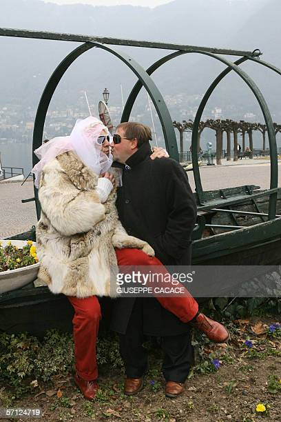 Two men dressed as a bride and groom pose for photographer in Cernobbio 18 March 2006 US film stars Brad Pitt and Angelina Jolie are rumored to be...