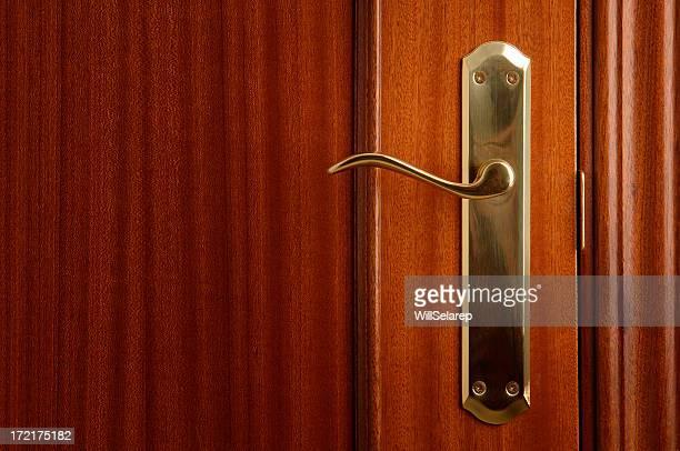 Cerradura dorada de una puerta