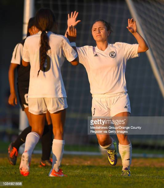 Cerritos'Äô Ashley Anaya¬Webb right celebrates her second goal of the game with Nayeli Requejo who also scored two goals over LBCC in Long Beach...