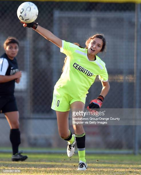 Cerritos goalie Adrianna Salazar clears the ball in Long Beach CA on Tuesday October 28 2014 Cerritos College women's soccer beat Long Beach City...