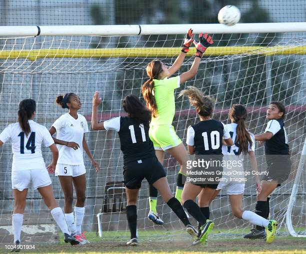 Cerritos goalie Adrianna Salazar makes a save in Long Beach CA on Tuesday October 28 2014 Cerritos College women's soccer beat Long Beach City...