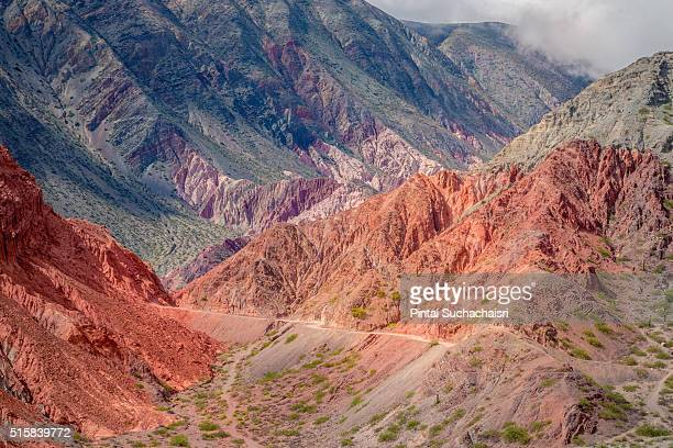 cerro de los siete colores in purmamarca, northern argentina - siete stock pictures, royalty-free photos & images