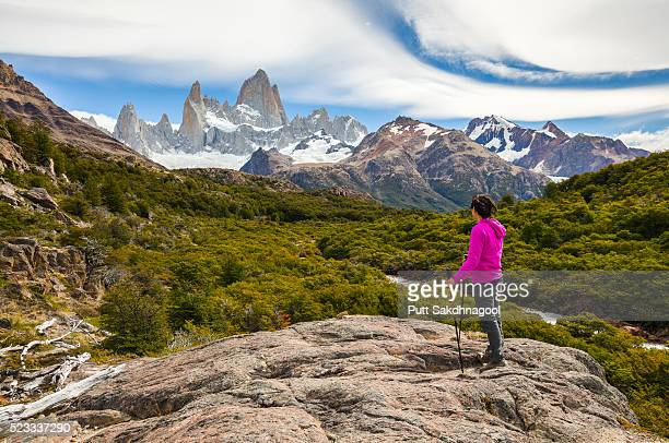 cerro fitz roy and a hiker - patagonia stock pictures, royalty-free photos & images