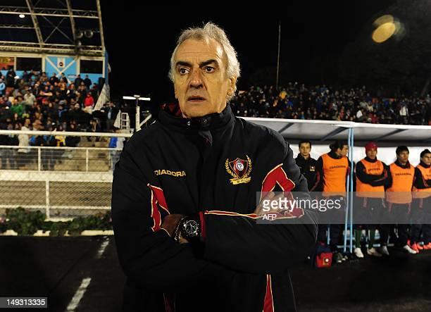 Cerro Porteno coach Jorge Fossati during their Copa Sudamerica football match against O'Higgins at El Teniente stadium in Rancagua Chile on July 26...