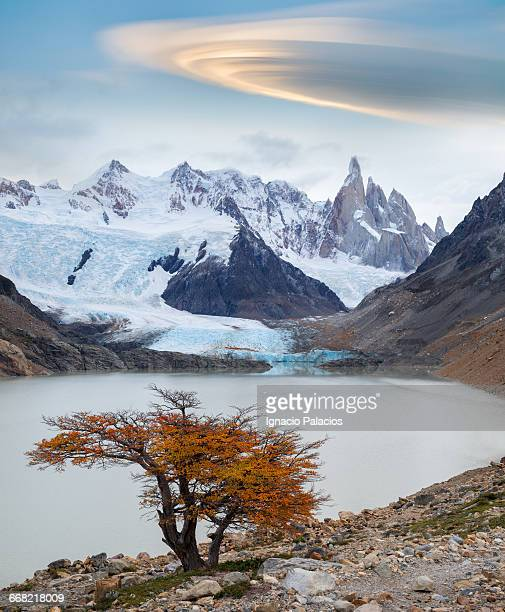 cerro torre and glacier, glaciers national park - cerro torre stock-fotos und bilder