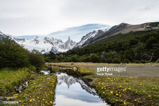 cerro torre peak reflecting in the water - argentina stock pictures, royalty-free photos & images