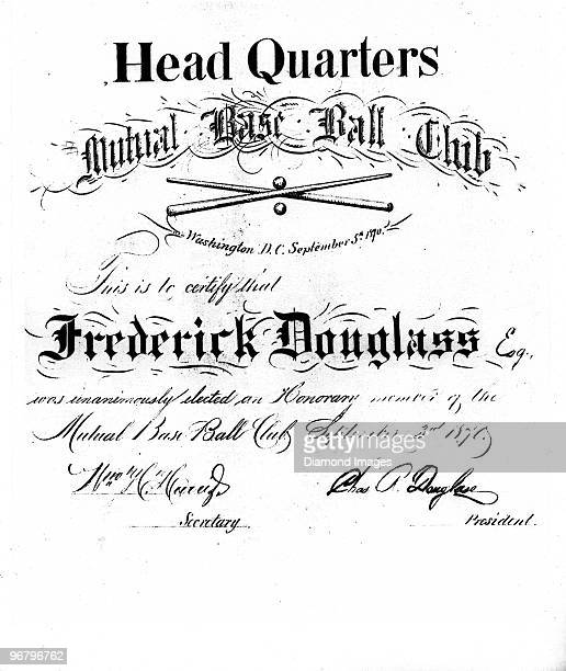 A certificate issued on September 5 1870 to Abolitionist Frederick Douglass bestowing upon him honorary membership on the Mutual Base Ball Club on...