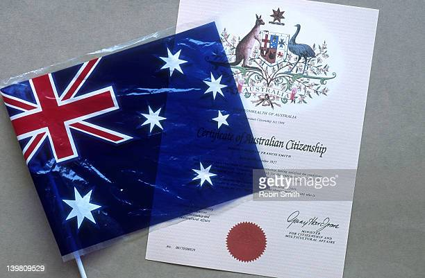 Certificate of Australian citizenship and flag