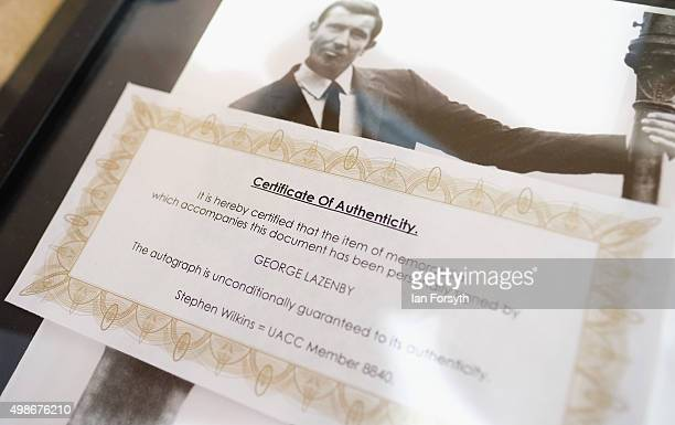 Certificate of Authentication for George Lazenby memorabilia is displayed during a James Bond auction on November 25 2015 in StocktononTees England...