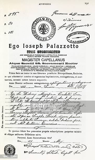 Certificate of Baptism of Giuseppe Balsamo known as Count Alessandro di Cagliostro 1743 Italy 18th century Paris Bibliothèque Nationale De France