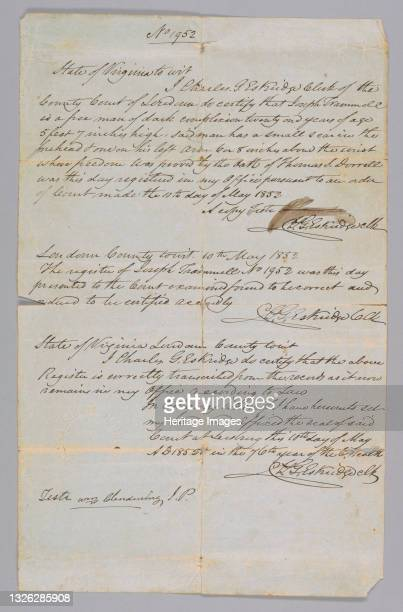 Certificate of Freedom for Joseph Trammell, an African-American man. Handwritten in black ink on white paper, the document is labeled at the top as...