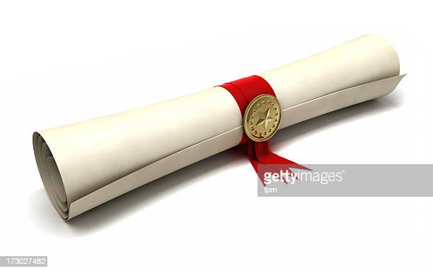 certificate scroll - diploma stock photos and pictures