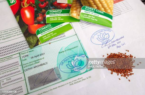 Certificates that now have to be purchased costing hundreds of pounds are pictured alongside packets of seeds at Hillmount Garden Centre in east...