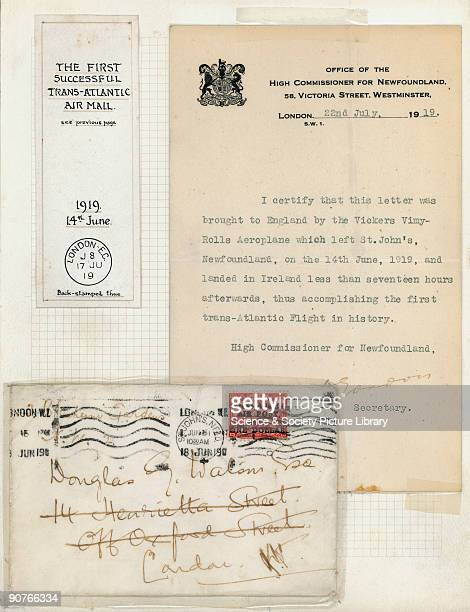 �I certify that this letter was brought to England by the Vickers VimyRolls Aeroplane which left St John's Newfoundland on the 14 June 1919 and...