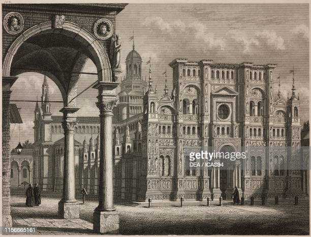 Certosa di Pavia, Italy, engraving from Letture di famiglia , Year II Trieste.