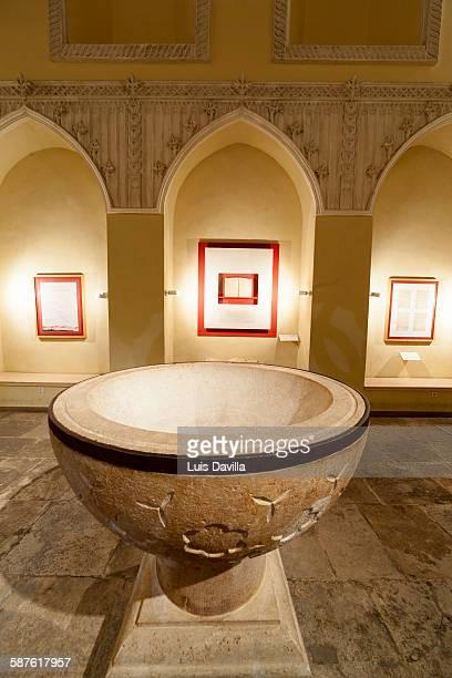 cervantes baptismal font - alcala de henares stock pictures, royalty-free photos & images
