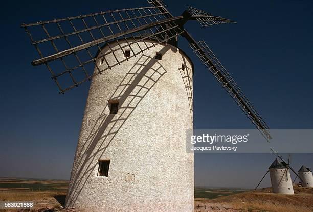 Cervantes famous windmills of La Mancha as depicted in his book 'Don Quixote de la Mancha' that the protagonist Don Quixote mistook for giants  ...
