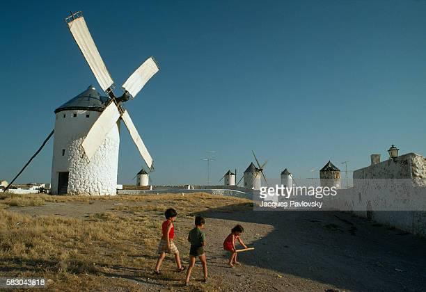 Cervantes famous windmills of La Mancha as depicted in his book 'Don Quixote de la Mancha' that the protagonist Don Quixote mistook for giants