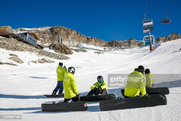 Cervinia, Italy: The Italian Paralympic team of snowboard during his training in a competitive season full of uncertainties due to the spread of...