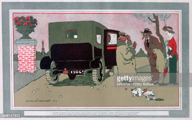 Ces voiturettes' French motoring cartoon' 1913 by Jean Villemot French illustrator The cartoon caption declares 'I know my boy you have so far beaten...
