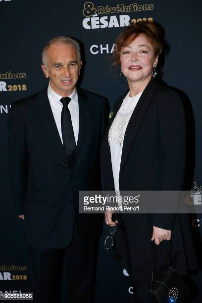 Cesar Academy President Alain Terzian and actress Catherine Frot attend the 'Cesar Revelations 2018' Party at Le Petit Palais on January 15 2018 in...