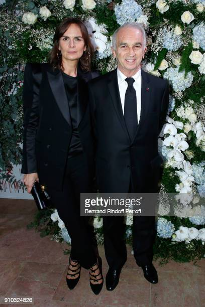 Cesar Academy President Alain Terzian and his wife Brune de Margerie attend the 16th Sidaction as part of Paris Fashion Week on January 25 2018 in...