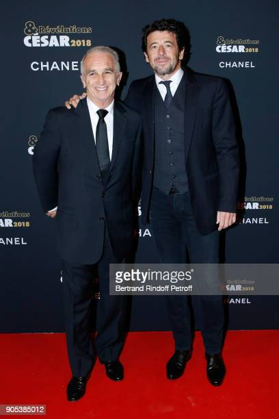 Cesar Academy President Alain Terzian and Patrick Bruel attend the 'Cesar Revelations 2018' Party at Le Petit Palais on January 15 2018 in Paris...