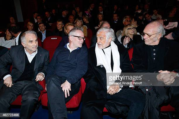Cesar Academy President Alain Terzian Cannes Film Festival Delegate General Thierry Fremaux Actor Jean Paul Belmondo and Christian Brincourt attend...