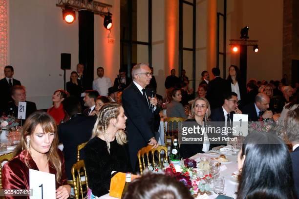 Cesar Academy President Alain Terzian makes a speach during the 'Cesar Revelations 2018' Party at Le Petit Palais on January 15 2018 in Paris France