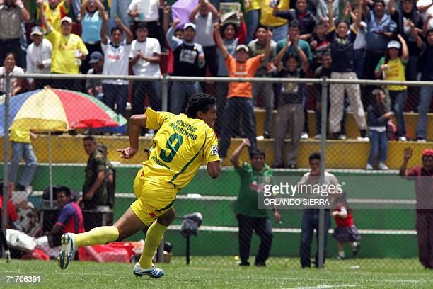 Cesar Alegria delantero del Deportivo Marquense de Guatemala celebra el trecer gol ante Plaza Amador de Panama en el estadio Marquesa de la Ensenada...