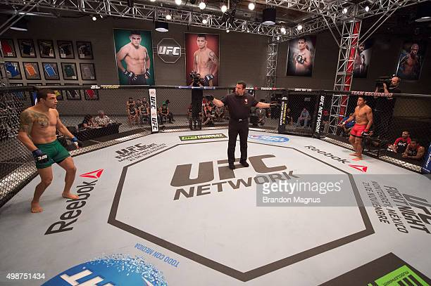 Cesar Arsamendia and Enrique Barzola prepare for the round to begin in their semifinals fight during the filming of The Ultimate Fighter Latin...
