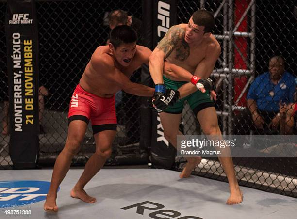Cesar Arsamendia punches Enrique Barzola in their semifinals fight during the filming of The Ultimate Fighter Latin America Team Gastelum vs Team...