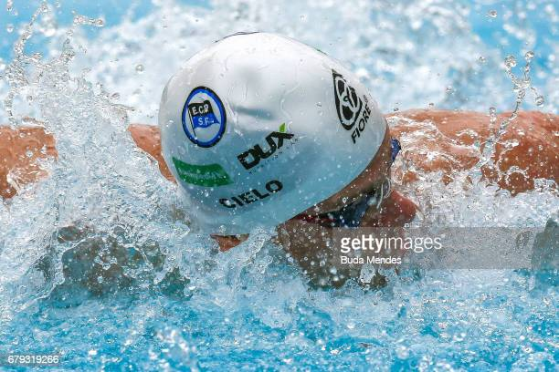 Cesar Augusto Cielo Filho of Brazil competes in the Men's 200m butterfly heats during Maria Lenk Swimming Trophy 2017 Day 4 at Maria Lenk Aquatics...