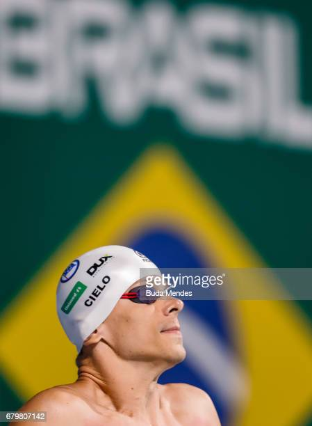 Cesar Augusto Cielo Filho of Brazil competes in the Men's 50m Freestyle final during Maria Lenk Swimming Trophy 2017 Day 5 at Maria Lenk Aquatics...
