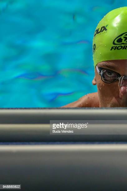 Cesar Augusto Cielo Filho of Brazil competes in the Men's 50m backstroke final during the Maria Lenk Swimming Trophy 2018 Day 3 at Maria Lenk...