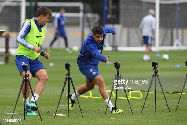Cesar Azpilicueta and Alvaro Morata of Chelsea during a training session at Chelsea Training Ground on August 10 2018 in Cobham England