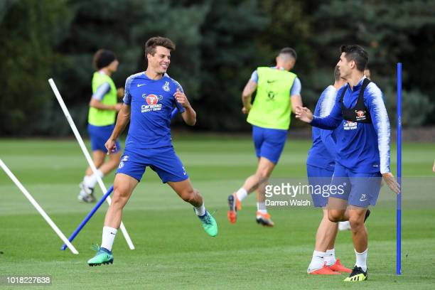 Cesar Azpilicueta and Alvaro Morata of Chelsea during a training session at Chelsea Training Ground on August 17 2018 in Cobham England